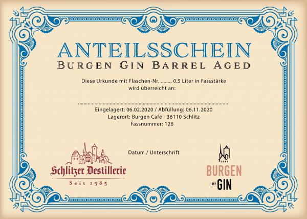 Anteilsschein Burgen Herbal Gin Barrel Aged Edition 0,5l Fassstärke