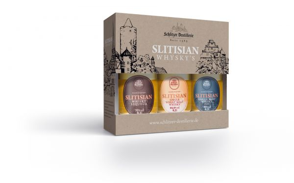 Schlitzer Whisky Geschenkset Slitisian Whisky Liqueur, Single Wheat Malt classic & Single Malt peaty